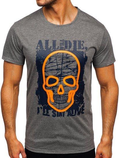 Антрацитовая мужская футболка с принтом Bolf Y70007
