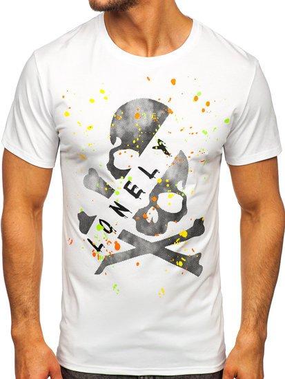Белая мужская футболка с принтом Bolf Y70008