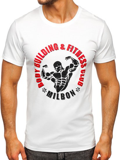Белая мужская футболка с принтом Bolf Y70015