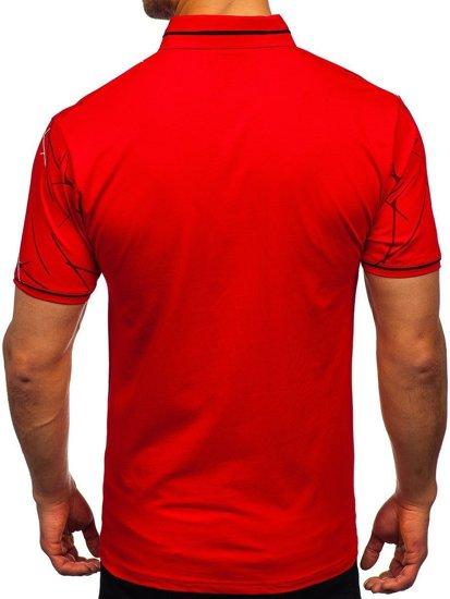 Красная мужская футболка поло с принтом Bolf 192280