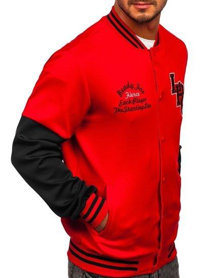 Красная толстовка-куртка мужская тонкая бейсбольная с принтом Bolf B10158