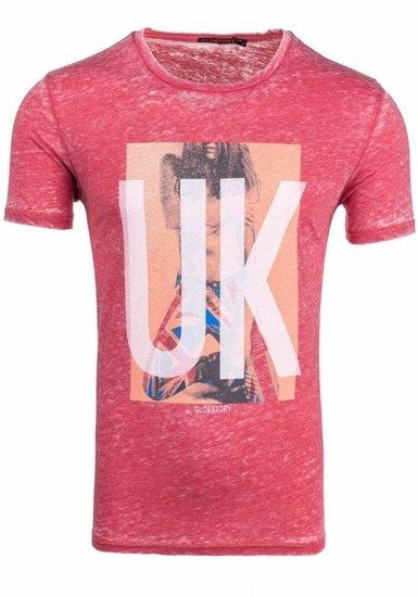 Красная футболка мужская с принтом Bolf 7645