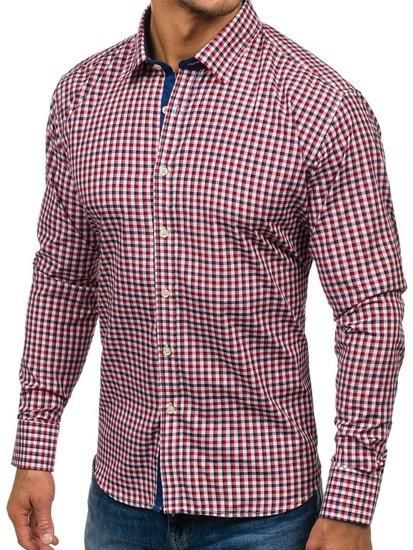 Мужская рубашка в клетку с длинным рукавом темно-сине-красная Bolf GET10