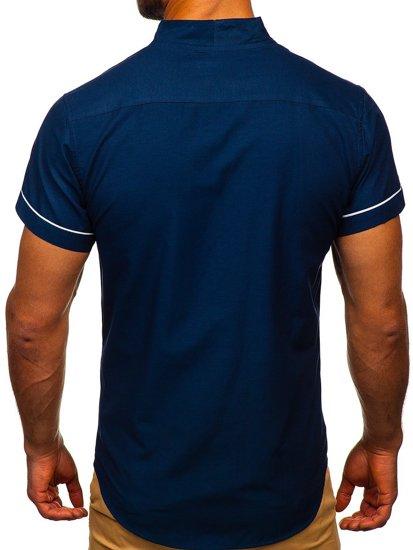 Мужская рубашка с коротким рукавом темно-синяя Bolf 5518