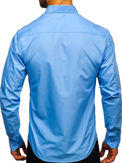 Мужская элегантная рубашка с длинным рукавом голубая Bolf 5821