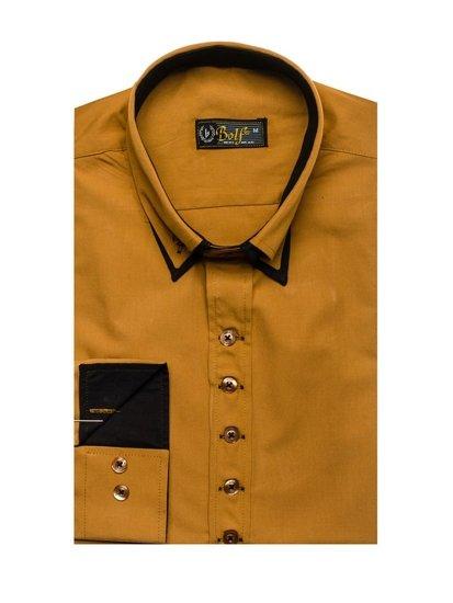 Мужская элегантная рубашка с длинным рукавом кэмел Bolf 3708