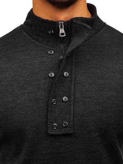 Мужской свитер с высокой горловиной антрацитовый Bolf 1132