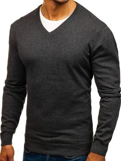 Мужской свитер с v-образным вырезом антрацитовый Bolf 1820