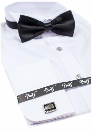 Рубашка мужская BOLF 4702 бабочка+запонки белая