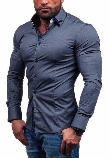 Рубашка мужская N. Men 7188 графит