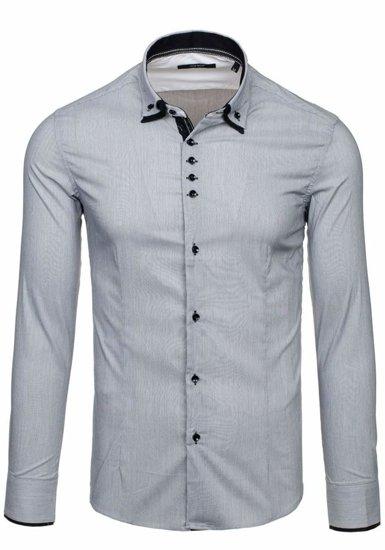 Рубашка мужская N. Men 7188 серая