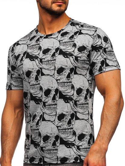 Серая мужская футболка с принтом Bolf 14928