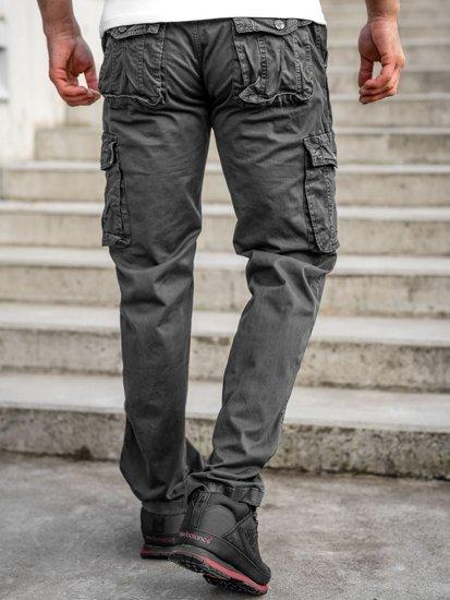 Темно-графитные мужские брюки карго с ремнем Bolf CT8906