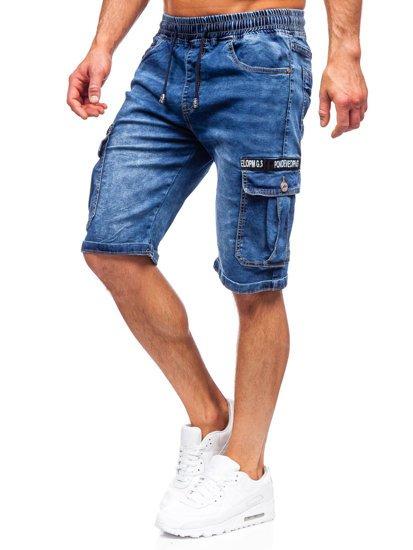 Темно-синие джинсовые шорты мужские карго Bolf K15006