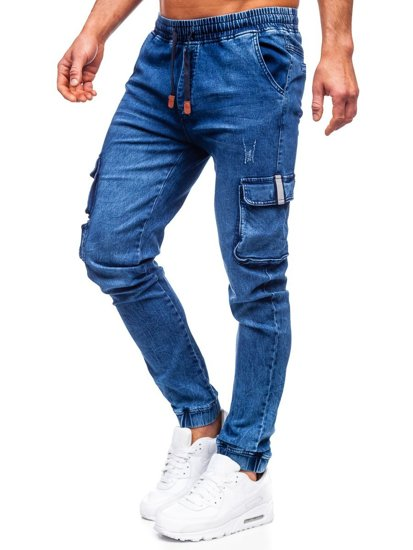 Темно-синие джинсы джоггеры-карго мужские Bolf HY850