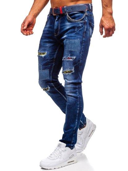 Темно-синие мужские джинсы slim fit Bolf с ремнем 80034W0