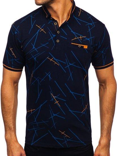Темно-синяя мужская футболка поло с принтом Bolf 192280