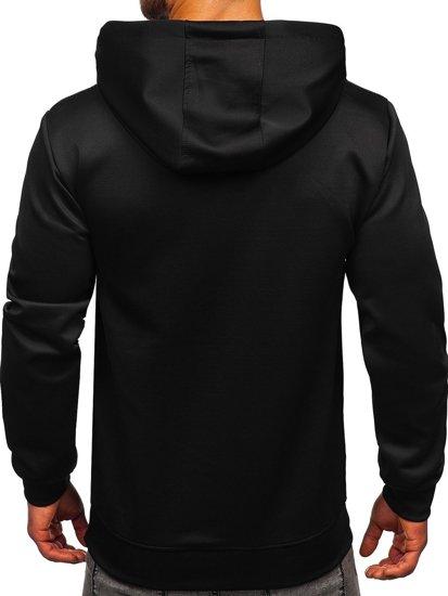 Черная мужская толстовка с капюшоном и принтом Bolf B10120