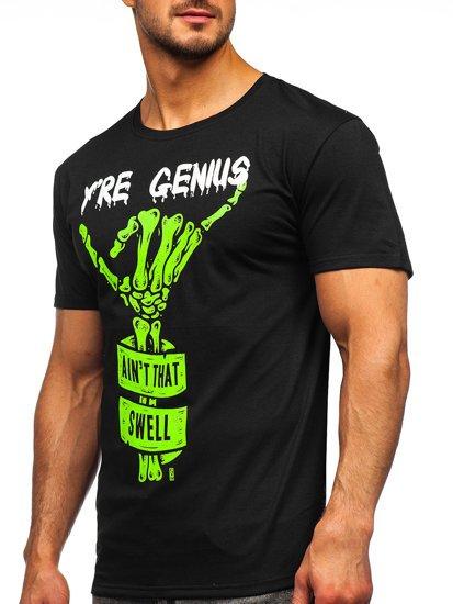 Черная мужская футболка с принтом Bolf Y70003