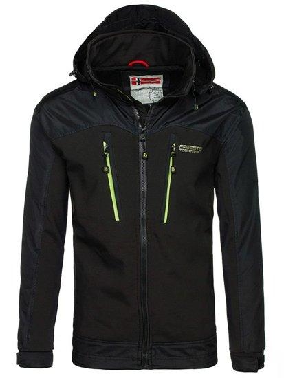 Черно-зеленая мужская демисезонная куртка Bolf 2345