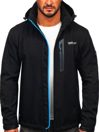 Черно-синяя мужская куртка софтшелл Bolf WX061