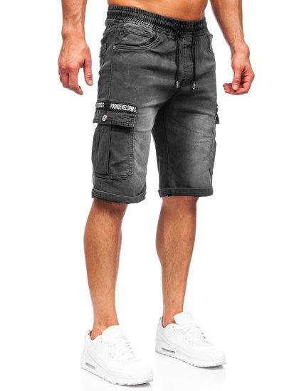 Черные джинсовые шорты мужские карго Bolf K15006-2