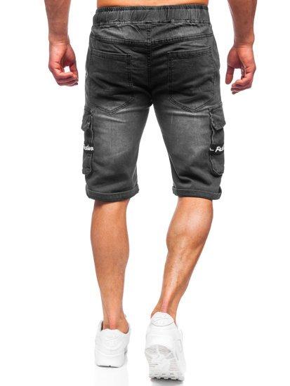 Черные джинсовые шорты мужские карго Bolf K15008-2