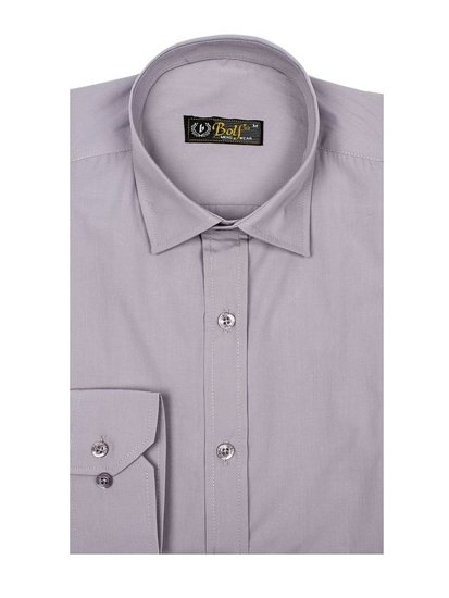 Мужская элегантная рубашка с длинным рукавом серая Bolf 1703