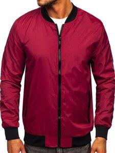 Бордовая мужская демисезонная куртка бомбер Bolf M10292