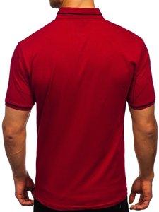 Бордовая мужская футболка поло с принтом Bolf 192280
