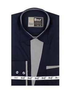 Рубашка мужская BOLF 4713 темно-синяя