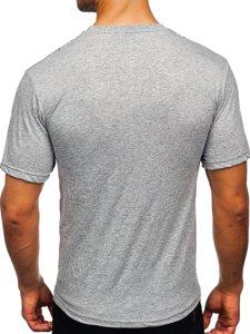 Серая мужская футболка с принтом Bolf 14424