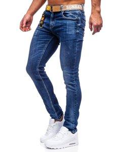 Темно-синие мужские джинсы slim fit с ремнем Bolf 80028W0