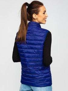 Темно-синий стеганый женский жилет Bolf 23038