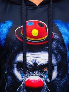 Темно-синяя мужская толстовка с капюшоном и принтом Bolf B10112