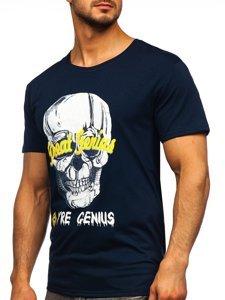 Темно-синяя мужская футболка с принтом Bolf Y70012