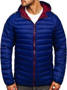 Темно-синяя стеганая демисезонная мужская куртка с капюшоном Bolf 13022