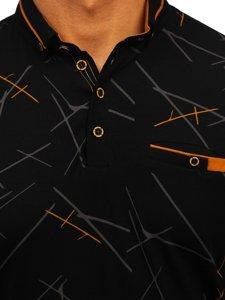 Черная мужская футболка поло с принтом Bolf 192280
