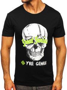 Черная мужская футболка с принтом Bolf Y70012