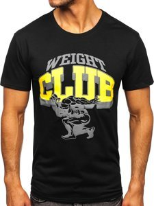 Черная мужская футболка с принтом Bolf Y70031