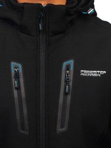 Черно-синяя мужская куртка софтшелл Bolf WX063