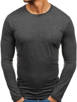 Антрацитна чоловіча футболка з довгим рукавом без принта Bolf 135