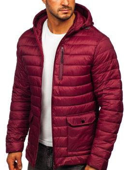 Бордова стьобана чоловіча демісезонна куртка Bolf M13001