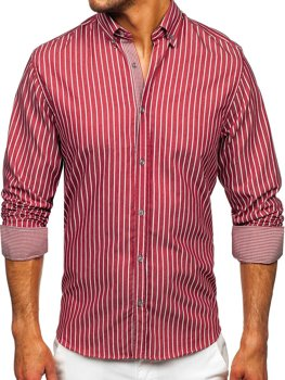 Бордова чоловіча сорочка в смужку з довгим рукавом Bolf 20731