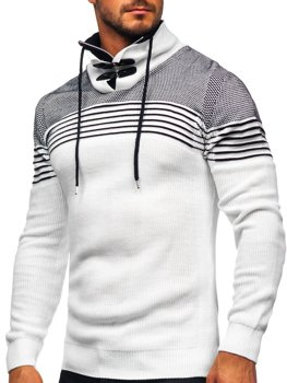 Білий чоловічий светр товстої в'язки з коміром-стійкою Bolf 1039