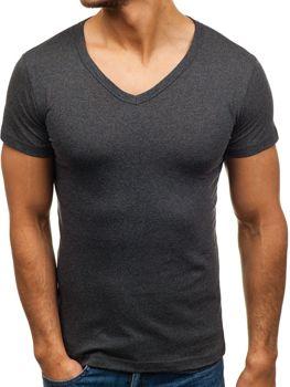 Графитова чоловіча футболка без принта з v-подібним вирізом Bolf 1002
