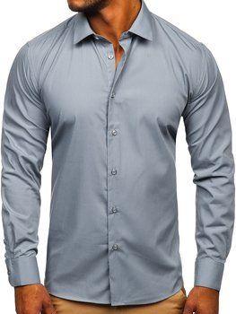 Графітова чоловіча елегантна сорочка з довгим рукавом Bolf SM7