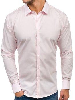 Елегантна чоловіча сорочка з довгим рукавом рожева Bolf TS100