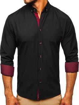 Елегантна чоловіча сорочка з довгим рукавом чорно-бордова Bolf 5722-1