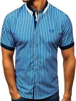 Елегантна чоловіча сорочка у клітину з коротким рукавом синя Bolf 4501